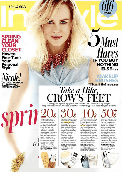 Take a Hike Crow's Feet, InStyle Magazine